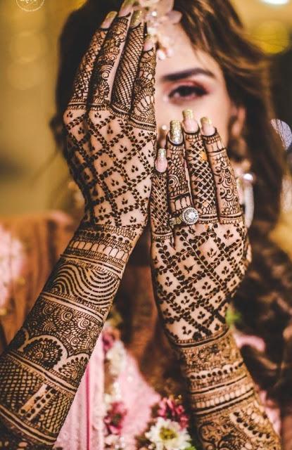 back side mehndi design bridal